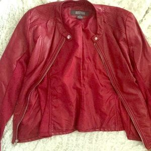 Red Kenneth Cole Reaction vegan leather jacket